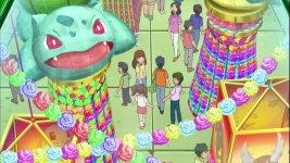 We see that bulbasaur is hanging around in the foreground and it kinda reminds me of james getting scammed by that fisherman. lol.