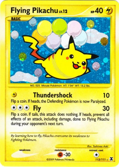 Note this is not just the cards flying pikachu uses ballons in the