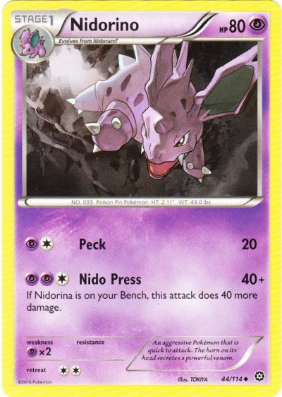 Serebii.net TCG Steam Siege - #44 Nidorino