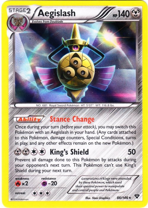 Serebii.net TCG X Y - #86 Aegislash Wailmer Pokemon Card