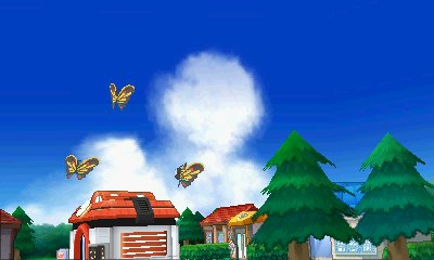 Beautifly heads over a town