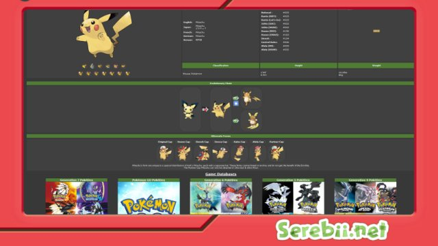 Serebii.net Pokédex Hub