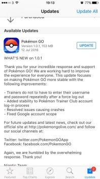 pokémon go patches updates
