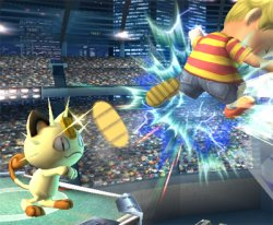 Meowth throws a coin at Lucas