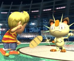Meowth throws another coin at Lucas