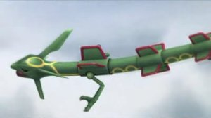 Rayquaza flying after grabbing Diddy Kong