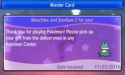 Pokémon Sun & Moon - Munchlax Event